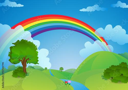 Foto op Canvas Regenboog Rainbow over the valley