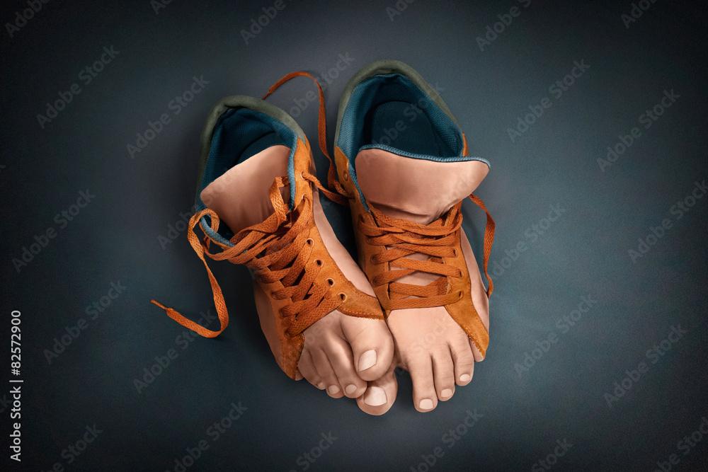 Fototapety, obrazy: Unusual shoes. Sneakers legs.