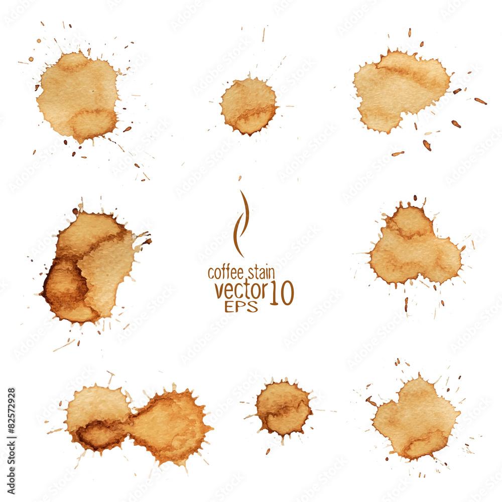 Fototapeta Coffee stain watercolor vector.