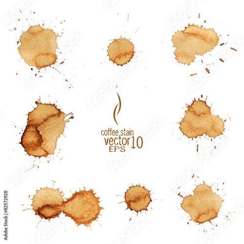 Photo Coffee stain watercolor vector.