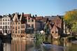 canvas print picture - Riverside in Ghent. Flanders. Belgium