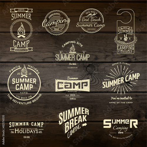 Fotografering Summer camp badges logos and labels for any use