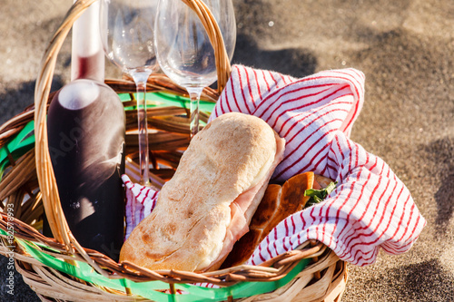 Aluminium Prints Picnic picnic on the beach