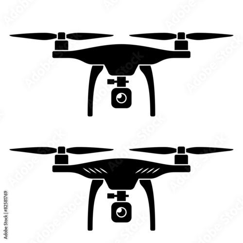 Fototapeta vector rc drone quadcopter with camera black symbol obraz