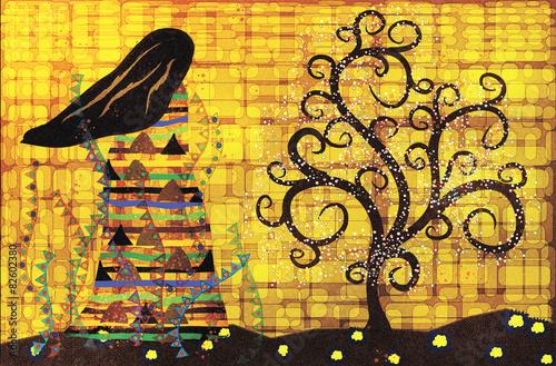 Obrazy Gustav Klimt  abstract-illustration-in-the-style-of-gustav-klimt