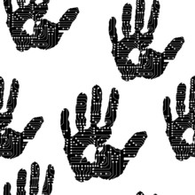 Handprint With The Electronic Board Pattern