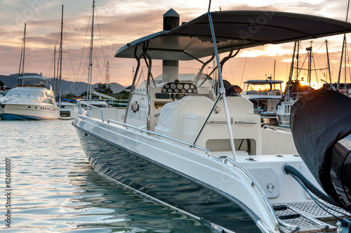 Fotografia, Obraz  Small motorboat docking at the marina at sunset time
