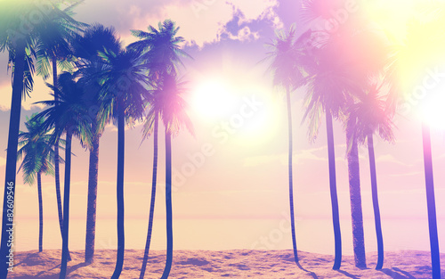 Spoed Foto op Canvas Beige 3D palm trees and ocean with vintage effect