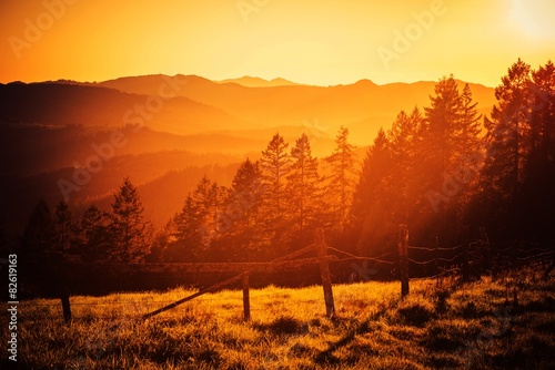 plakat California Hills Sunset