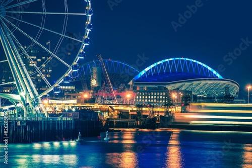 Fotografia, Obraz  Seattle Waterfront at Night