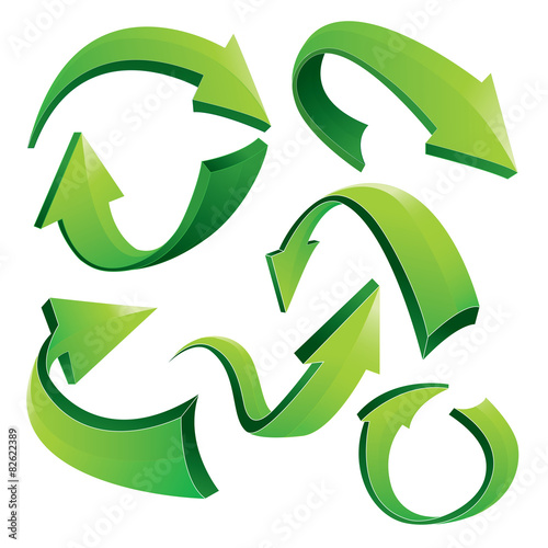 Foto  Grüne gebogene 3D Pfeile