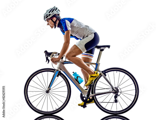 Photo sur Toile Cyclisme woman triathlon ironman athlete cyclist cycling