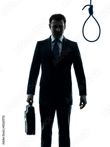 Fotografie, Obraz  business man in front of  hangman noose silhouette