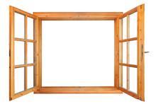 Wooden Double Window Opened Is...