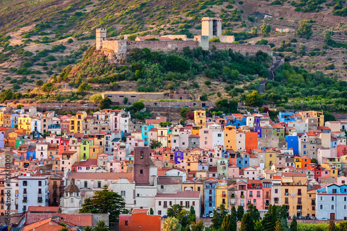 Colourful houses, Bosa, Sardinia, Italy, Europe