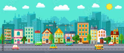 city-street-w-plaska-konstrukcja-i-zestaw-budynkow-miejskich