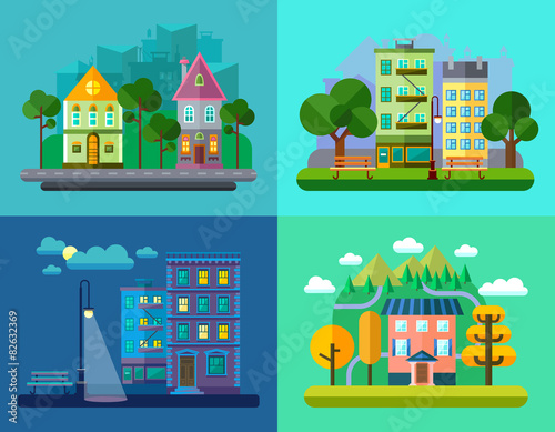 Foto op Canvas Groene koraal Colorful Vector Flat Urban and Village Landscapes