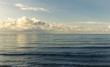 Landscape view of beautiful deep blue sea with clouds