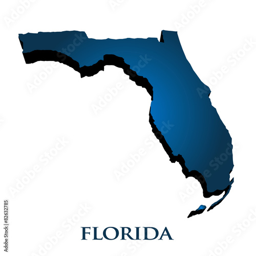 Fotografia  3D Graphic Map Of Florida State