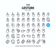 50 Vector Line Gesture Icons