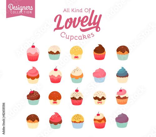 Photo  20 delicious yummy vector cupcakes