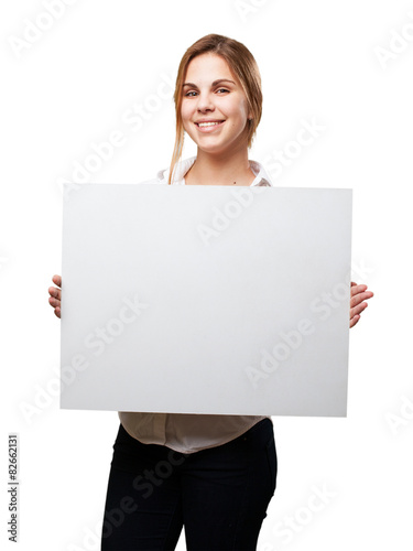 blond woman with a placard