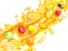 Different Fruits And Juice Splashes. Multifruit Juice
