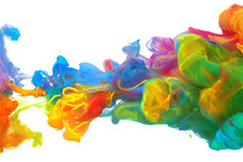 Clouds Of Bright Colorful Ink Mixing In Water