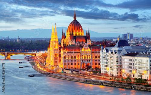 Aluminium Prints Budapest Budapest, Hungary parliament at night