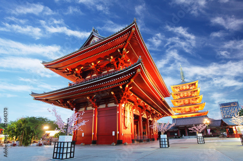 Asakusa temple with pagoda at night, Tokyo, Japan #82664370