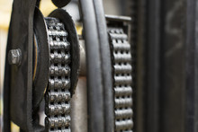 Oiled Mechanical Chain On A Forklift Truck