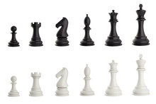 Set Of Black And White Chess Pieces. 3d Illustration