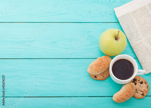 Fotografie, Tablou  Morning coffee with fruits and cookies on wooden table