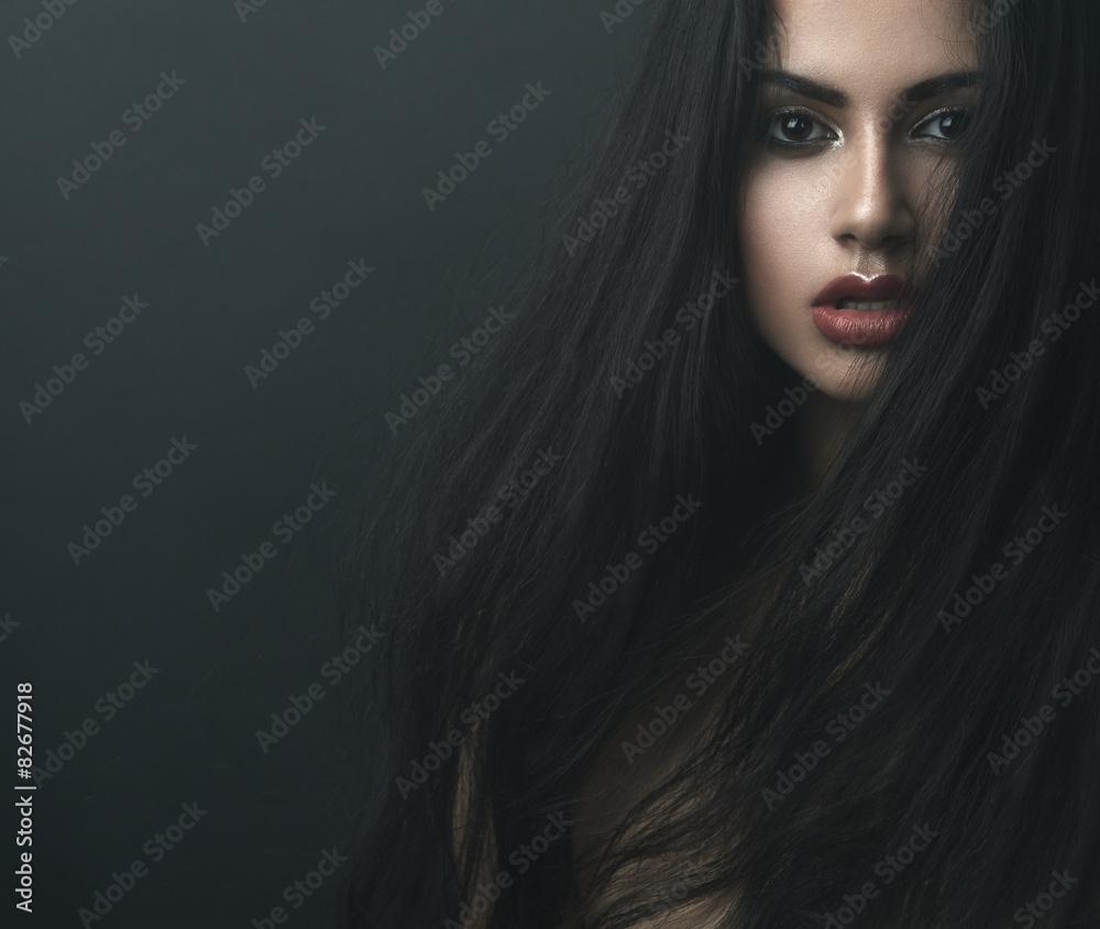 Fototapeta mysterious portrait of a girl in  dark  fog