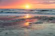 Sea sunset at the Dutch coast near Scheveningen