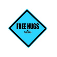 Free Hugs Black Stamp Text On Blue Background