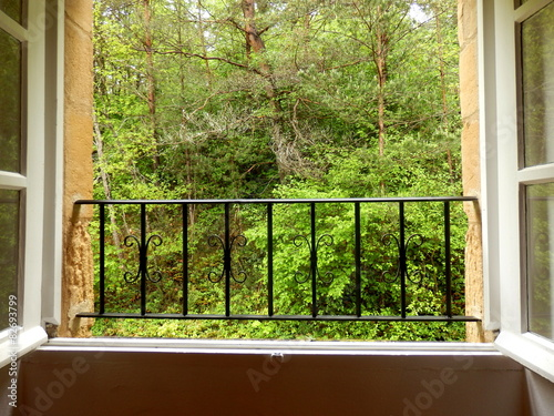 widok-lasu-widziany-z-okna-sypialni-domku