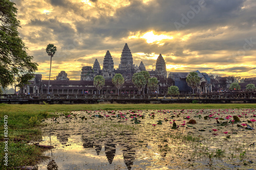 Sunrise at Angkor Wat Temple, Siem Reap, Cambodia Poster