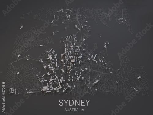 Photo Cartina di Sydney, Australia, vista satellitare, mappa in 3d