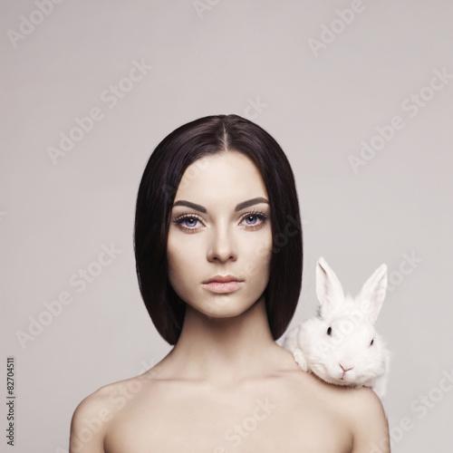Canvas Prints womenART Beautiful woman with rabbit