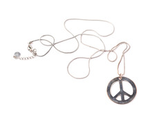 Worn Metal Peace Sign Necklace...