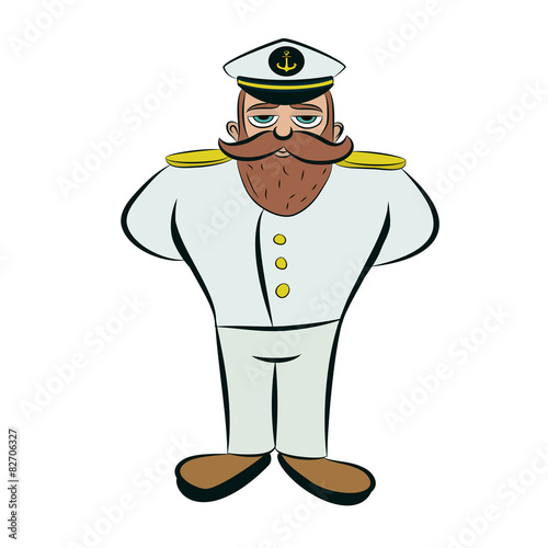 Ship Captain In Uniform In Flat Style. Vector Illustration.. Royalty Free  Cliparts, Vectors, And Stock Illustration. Image 69055624.