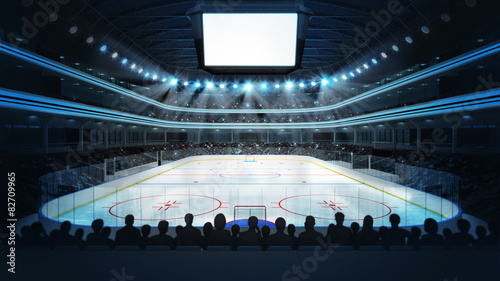 hockey stadium with spectators and blank cube text space Canvas Print