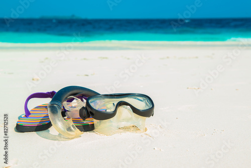Sand beach and ocean wave, South Male Atoll. Maldives Poster