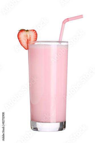 In de dag Milkshake milkshakes strawberry flavor ice cream isolated on white backgro