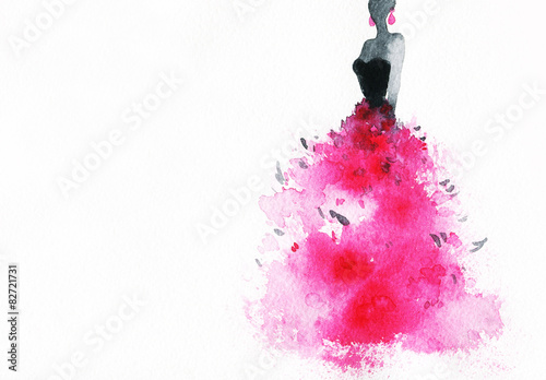 Poster Portrait Aquarelle woman with elegant dress .abstract watercolor