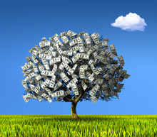 A Tree Made Of Hundred Dollar Banknotes On A Background Of Blue Sky And Green Meadows.
