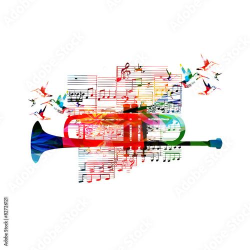 Colorful trumpet design with hummingbirds Fototapeta