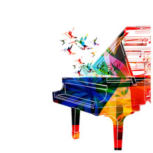 Colorful Piano Design With Hum...