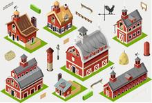 Isometric Old Building - American Barn Set Tiles